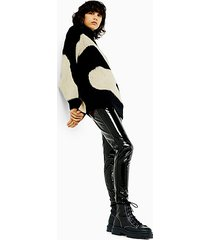 idol black skinny vinyl trousers - black