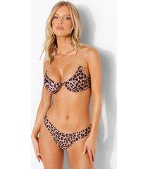 fuller luipaardprint bikini top met beugel en transparante bandjes, leopard