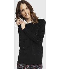 sweater ash trenzado negro - calce regular