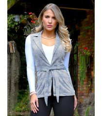 chaleco escoces outfit 3105 para mujer gris