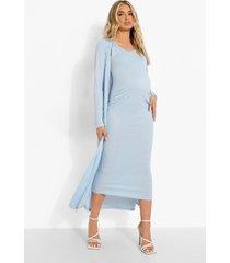 zwangerschap mouwloze midaxi jurk met laag decolleté en duster jas, blue