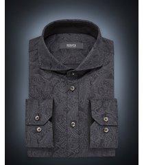 desoto luxury line heren overhemd paisley cutaway jersey slim fit zwart