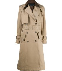 eudon choi belted two-tone trench coat - neutrals