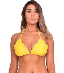 bikini triangulo con bordes ovalados amarillo samia