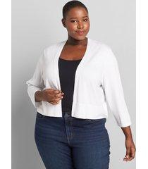 lane bryant women's 3/4-sleeve cropped cardigan 10/12 white