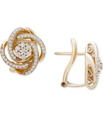 wrapped in love diamond love knot stud earrings (1/2 ct. t.w.) in 14k gold, created for macy's