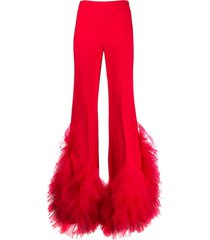 loulou high-rise flared ruffled tulle trousers