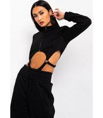 akira when you know ring detail long sleeve bodysuit