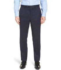 men's big & tall john w. nordstrom torino classic fit flat front solid dress pants, size 48 x unhemmed - blue