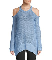 cold-shoulder mesh knit pullover