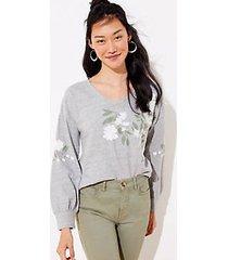 loft floral embroidered curved hem sweatshirt