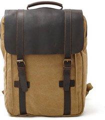 mochila para hombre, lona y cuero mochila unisex vintage