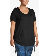 lane bryant women's active french terry hoodie - ruched sides 22/24 black