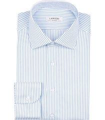 camicia da uomo su misura, grandi & rubinelli, azzurra riga stretta natural stretch, quattro stagioni | lanieri
