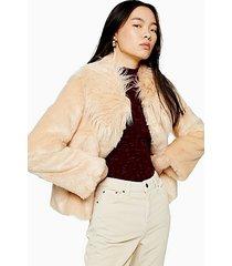 luxe faux fur coat - nude