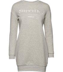 applique sweat dress korte jurk grijs superdry