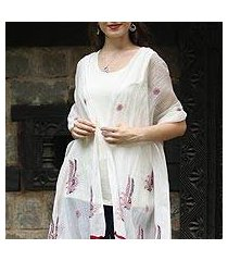 cotton and silk blend shawl, 'chikan flowers in wine' (india)