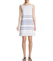 striped boatneck linen & cotton blend shift dress
