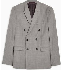 mens grey marl double breasted slim blazer
