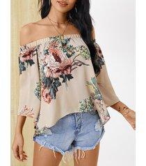 yoins blusa con estampado floral al azar fuera del hombro diseño blusa