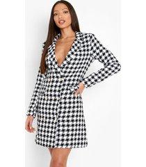 tall getailleerde bouclé blazer jurk, black
