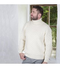 men's irish aran turtleneck sweater cream large