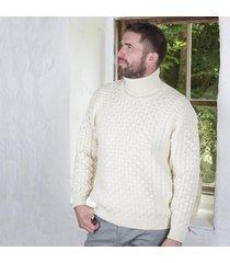 men's irish aran turtleneck sweater cream large