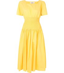 bambah poplin elasticated dress - yellow