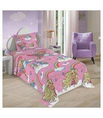jogo de cama solteiro infantil lepper barbie unicórnio 3 peças rosa