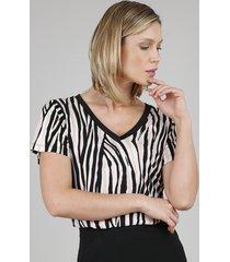 blusa feminina estampada animal print manga curta decote v bege