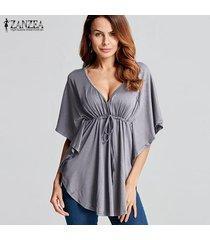 zanzea 2018 mujeres del verano blusas camisas con cuello en v manga del batwing de las señoras de gran tamaño tes de las tapas flojas ocasionales blusas femininas más el tamaño gris -gris