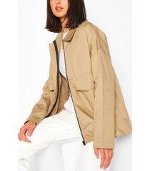 cotton trim pocket jacket, stone