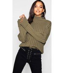 tall wide rib turn up cuff sweater, khaki