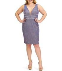plus size women's mac duggal metallic plunge neck cocktail dress, size 22w - pink