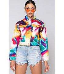 akira azalea wang swirl printed denim jacket