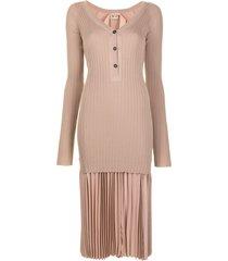 nº21 fine-knit ribbed dress - neutrals