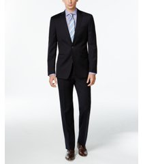 calvin klein navy solid slim x fit suit