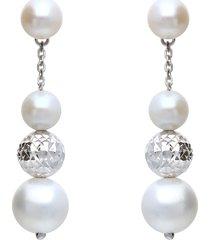 orecchini in oro bianco e perle per donna