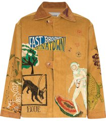 bode illustrated boxy-fit corduroy jacket - brown