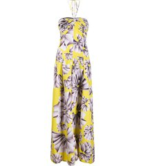 maria lucia hohan ives halterneck jumpsuit - yellow