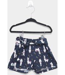shorts infantil malwee estampado amarração feminino
