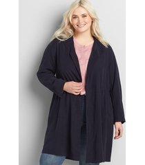 lane bryant women's twill utility duster jacket 14/16p night sky