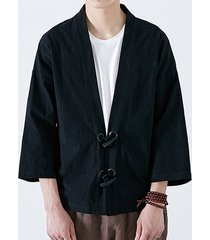 hombres casual chaqueta retro lisa chaqueta japonesa con botones en la parte delantera