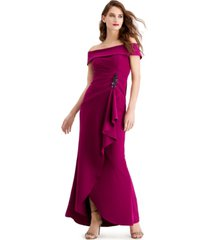 adrianna papell cascade-ruffle gown