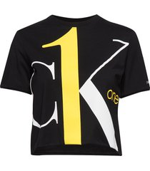 big logo modern straight crop t crop tops svart calvin klein jeans