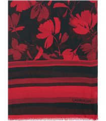 calvin klein graphic floral-print & striped scarf