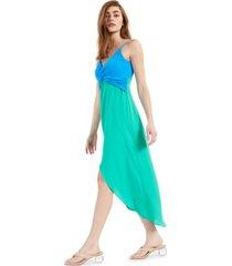 bar iii twist-front colorblocked midi dress, created for macy's