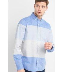 camisa poplin stretch hombre celeste gap
