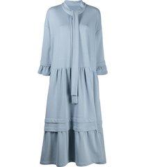 mm6 maison margiela tiered mid-length dress - blue