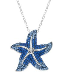 """giani bernini crystal starfish 18"""" pendant necklace in sterling silver, created for macy's"""